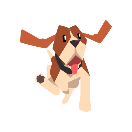 Beagle dog running, cute funny animal cartoon character vector Illustration isolated on a white background.