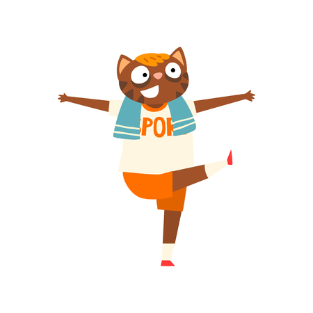 Funny cat doing morning exercises, humanized animal cartoon character vector Illustration isolated on a white background.