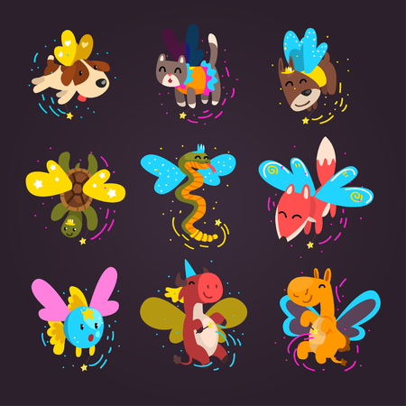 Collection of cute winged animals with a magic wands, fantasy fairy tale dog, cat, turtle, fox, snake, cow, fish, camel cartoon characters vector Illustration isolated on a white background. Illustration
