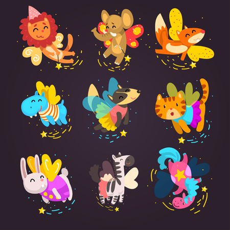 Collection of cute winged animals with a magic wands, fantasy fairy tale dog, cat, horse, unicorn, bunny, zebra cartoon characters vector Illustration isolated on a white background. Illustration