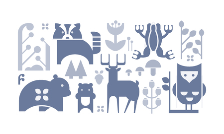 Collection of monochrome forest icons. Cute cartoon animals and plants. Decorative graphic elements for children book or postcard. Vector illustrations in flat style isolated on white background.