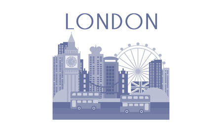 Monochrome vector illustration of London cityscape. Architecture, traditional buses, famous landmarks - Big Ben, bridge and ferris wheel. Travel to England. Graphic design for poster or postcard.