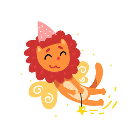Cute winged lion in a party hat with a magic wand, fantasy fairy tale animal cartoon character vector Illustration isolated on a white background. Illustration