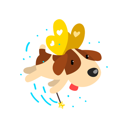 Cute winged beagle dog with a magic wand, fantasy fairy tale animal cartoon character vector Illustration isolated on a white background. Illustration