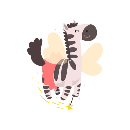 Cute winged zebra flying with a magic wand, fantasy fairy tale animal cartoon character vector Illustration isolated on a white background.