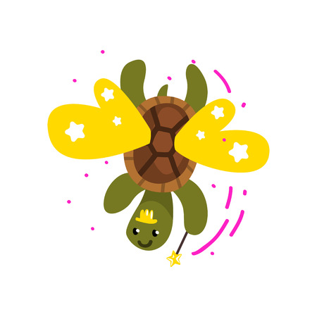 Cute winged turtle with a magic wand, fantasy fairy tale animal cartoon character vector Illustration isolated on a white background.