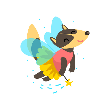 Cute winged wolf flying with a magic wand, fantasy fairy tale animal cartoon character vector Illustration isolated on a white background.