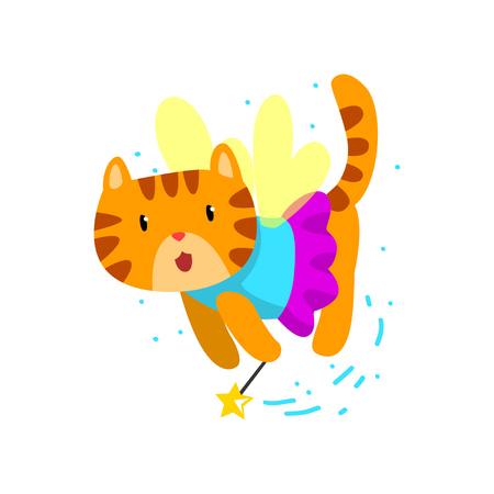 Cute winged red cat with a magic wand, fantasy fairy tale animal cartoon character vector Illustration isolated on a white background.