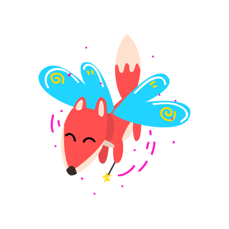 Cute winged fox flying with a magic wand, fantasy fairy tale animal cartoon character vector Illustration isolated on a white background. Illustration