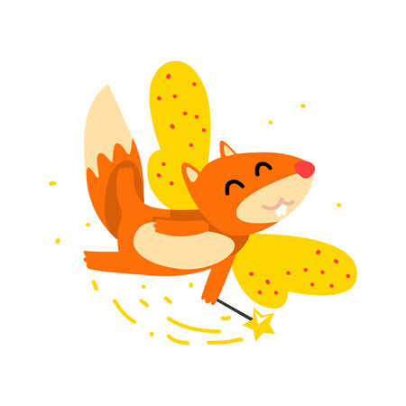 Cute winged squirrel flying with a magic wand, fantasy fairy tale animal cartoon character vector Illustration isolated on a white background.