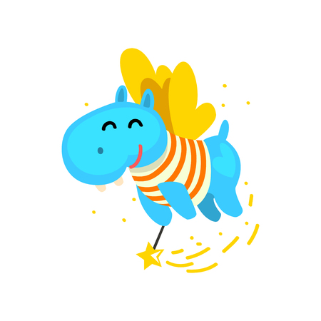 Cute winged hippo flying with a magic wand, fantasy fairy tale animal cartoon character vector Illustration isolated on a white background. Illustration