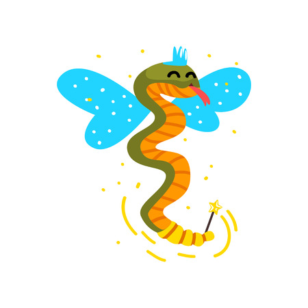 Cute winged snake with a magic wand, fantasy fairy tale animal cartoon character vector Illustration isolated on a white background.