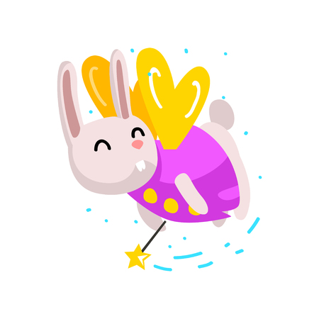 Cute winged bunny flying with a magic wand, fantasy fairy tale animal cartoon character vector Illustration isolated on a white background.