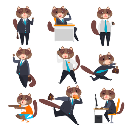 Businessman cat in different situations, humanized animal cartoon character in a suit at work vector Illustration isolated on a white background.