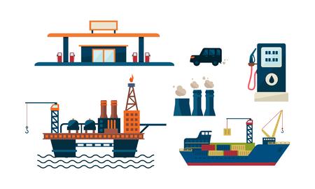 Geschäftskonzept der Ölindustrie. Illustration von Ölplattform, Tankstelle, Auto, Schiff und Fabrik. Erdölförderung. Benzinproduktion. Buntes flaches Vektordesign lokalisiert auf weißem Hintergrund. Vektorgrafik