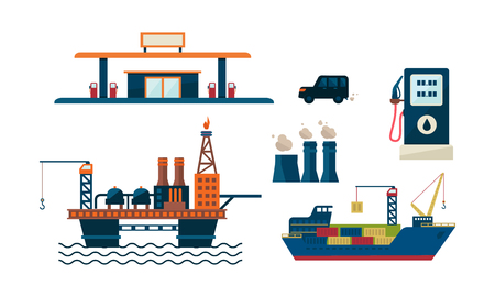 Koncepcja biznesowa przemysłu naftowego. Ilustracja platformy wiertniczej, stacji benzynowej, samochodu, statku i fabryki. Wydobycie ropy naftowej. Produkcja benzyny. Projekt kolorowy płaski wektor na białym tle. Ilustracje wektorowe
