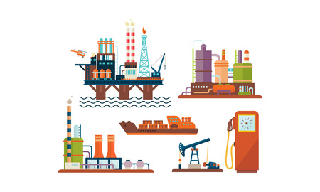 Flat vector set of oil and gas production industry icons. Oil platform, ship, factory buildings and fuel dispenser Illustration