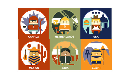 Set of square illustrations with people of different nationalities. Characters in traditional clothes with attributes. Colorful graphic design for poster or mobile game. Vector icons in flat style.