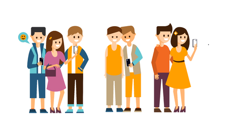 Groups of people with smartphones making selfies. Young smiling girls and guys. Friends taking photo with mobile phones. Friendship theme. Colorful flat vector design isolated on white background.