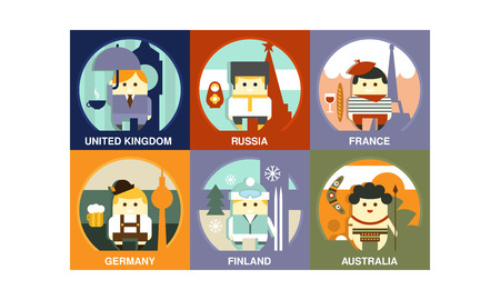 Set of representatives of different countries. People in national clothes with traditional attributes. Graphic elements for poster or banner. Flat vector illustrations isolated on colorful squares.