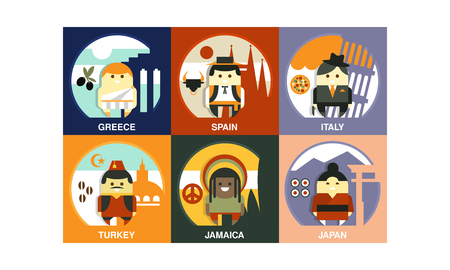 Set of people of different countries in national clothes with traditional symbols. Representative characters of various nationalities. Vector illustrations in flat style isolated on colorful squares.