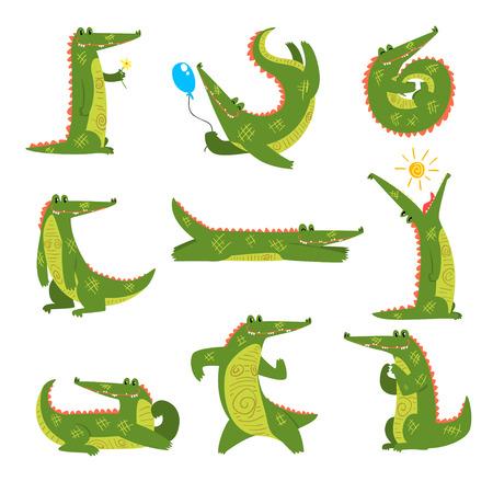 Coccodrillo amichevole in diverse pose, predatore divertente personaggio dei cartoni animati vettoriale illustrazione isolato su sfondo bianco. Vettoriali