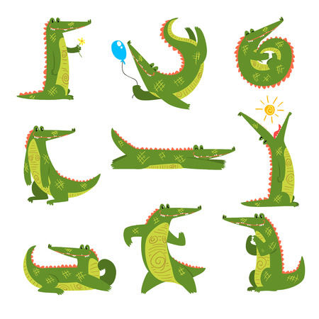 Friendly crocodile in different poses set, funny predator cartoon character vector Illustration isolated on a white background.