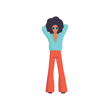Young man with Afro curly hairstyle, retro fashion people from 70s wearing vintage clothing vector Illustration isolated on a white background.