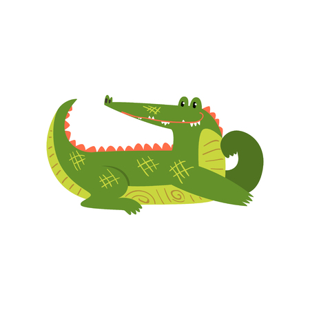 Friendly crocodile lying on the floor, funny predator cartoon character vector Illustration isolated on a white background.