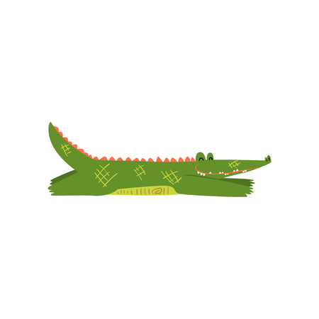Friendly crocodile lying sprawled on the floor, funny predator cartoon character vector Illustration isolated on a white background. Illustration