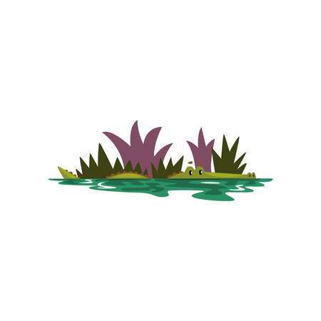 Friendly crocodile swimming in a pond, funny predator cartoon character vector Illustration isolated on a white background. Ilustração