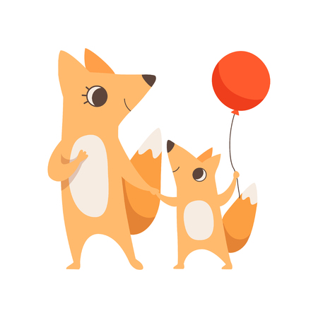 Loving mother fox and her little baby holding hands, fox cub with red balloon, animal family, parenting concept vector Illustration isolated on a white background.