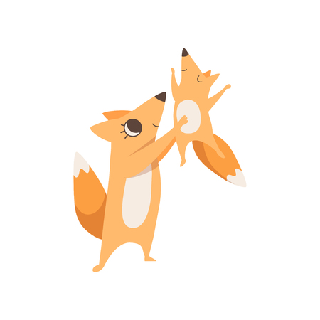 Loving mother fox holding baby in her arms, happy family of animals, parenting concept vector Illustration isolated on a white background.