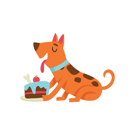 Cute dog eating cake, funny cartoon animal character at birthday party vector Illustration isolated on a white background.