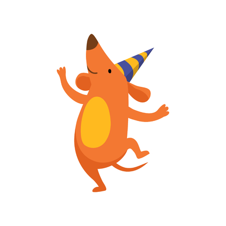 Cute dog in party hat having fun, funny cartoon animal character at birthday party vector Illustration isolated on a white background. Illustration