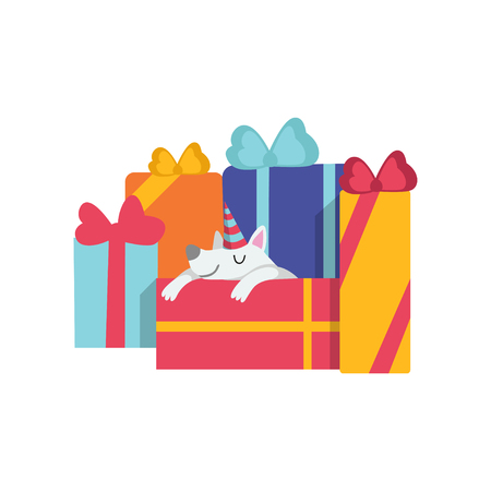 Cute dog sleeping on gift boxes, funny cartoon animal character at birthday party vector Illustration isolated on a white background.