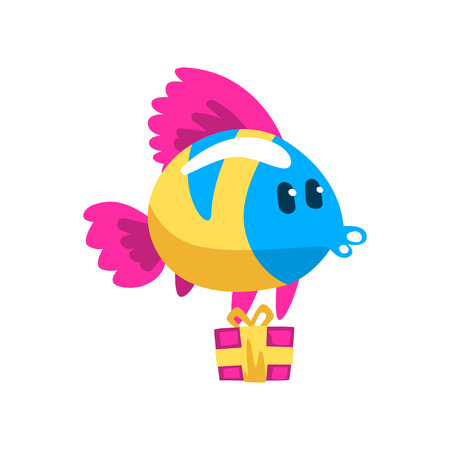 Cute colorful fish with gift box, little sea creature character, marine theme design element can be used for kids party invitation, greeting card vector Illustration isolated on a white background.