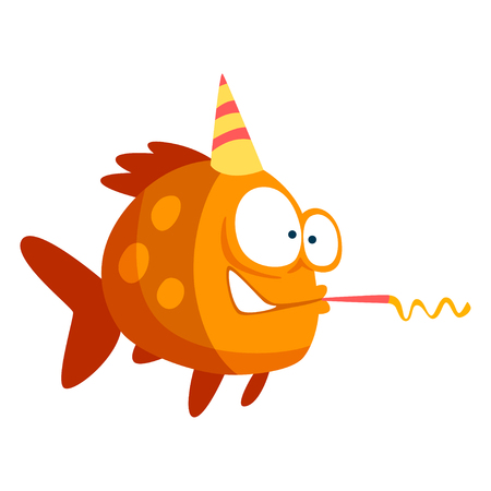 Cute funny fish in party hat with horn blower, little sea creature character, marine theme design element can be used for kids party invitation, greeting card vector Illustration isolated on a white background. Illustration