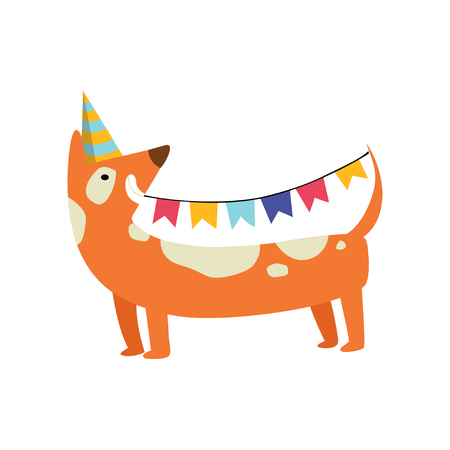Cute dog in party hat holding party flags, funny cartoon animal character at birthday party vector Illustration isolated on a white background. Illustration