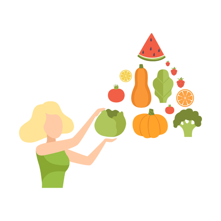Young woman with a pyramid of vegetables and fruits, healthy eating, diet, organic vegan food vector Illustration isolated on a white background. Ilustracja