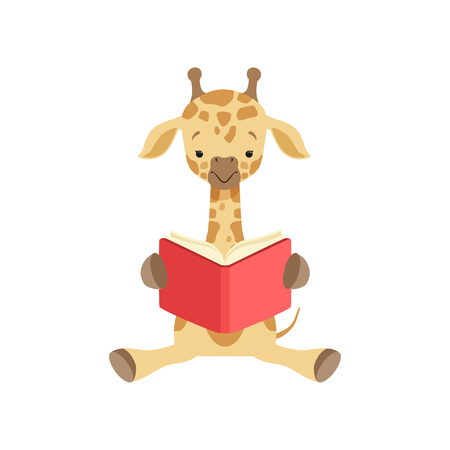 Cute giraffe sitting on the floor and reading book, funny jungle animal cartoon character vector Illustration isolated on a white background. Illustration