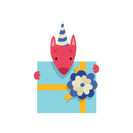 Cute dog in party hat with gift box, funny cartoon animal character at birthday party vector Illustration isolated on a white background. Stock Illustratie
