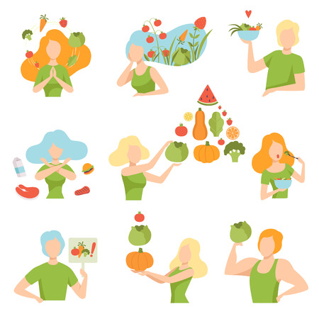 Collection of people with vegetables and fruits, healthy lifestyle, diet, organic vegan food vector Illustration isolated on a white background. Vektorové ilustrace