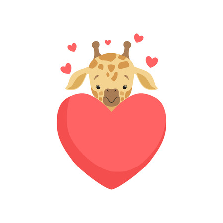 Cute little giraffe with big red heart, funny jungle animal cartoon character in love vector Illustration on a white background