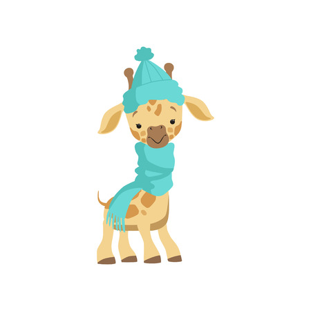 Cute little giraffe wearing blue knitted hat and scarf, funny jungle animal cartoon character vector Illustration isolated on a white background. Иллюстрация