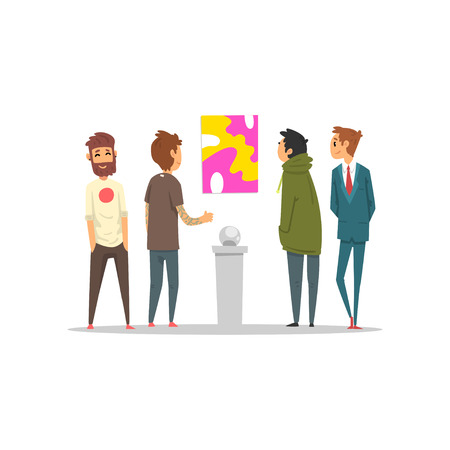 Men looking at abstract painting hanging on the wall, gallery of modern art with visitors vector Illustration on a white background Illustration