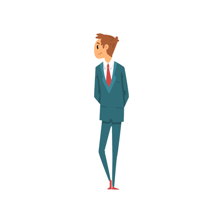 Young man in business suit looking at something vector Illustration on a white background