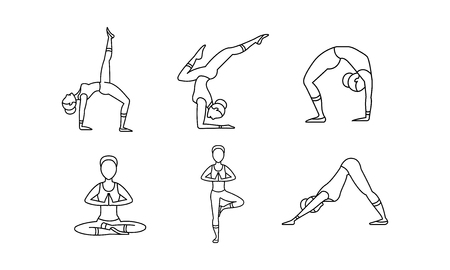 Yoga asanas linear icons set, women silhouettes, girl practicing yoga vector Illustration isolated on a white background.