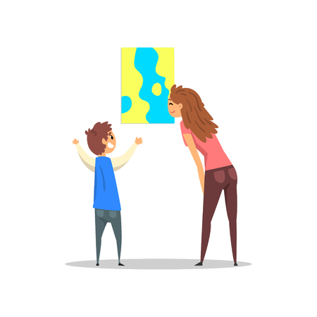 Young woman and boy looking at abstract painting hanging on the wall, gallery of modern art with visitors vector Illustration