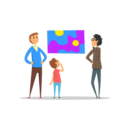 People looking at painting hanging on the wall, art gallery with visitors vector Illustration Ilustração